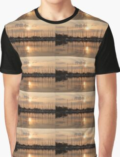 Of Yachts and Cormorants - A Golden Marina Morning Graphic T-Shirt