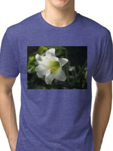 Divine Glow - Illuminated Pure White Easter Lily Tri-blend T-Shirt