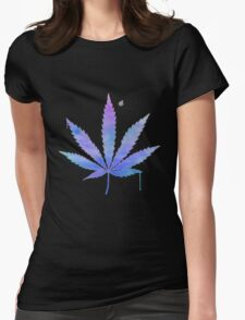 Water Colour Marijuana Leaf Womens Fitted T-Shirt