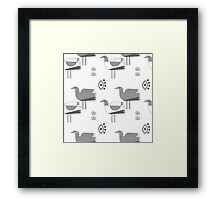 Seagulls and eyes white Framed Print