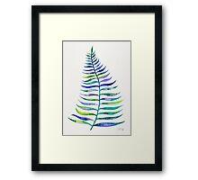 Indigo Palm Leaf Framed Print
