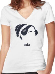 Ada Lovelace (Hirsute History) Women's Fitted V-Neck T-Shirt