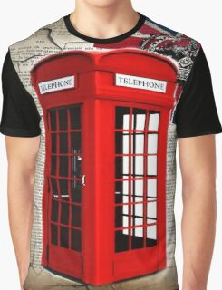 rustic grunge union jack retro london telephone booth Graphic T-Shirt