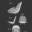 Eames DKR Iconic Mid Century Chair Furniture Patent Drawing Design by Framerkat