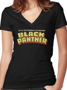 Black Panther - Classic Title - Clean Women's Fitted V-Neck T-Shirt