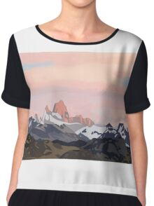Mountains and Sunset Women's Chiffon Top