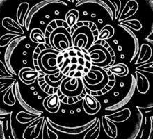 Black and White Abstract Lace Flower Sticker