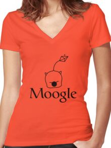 When in doubt, Moogle it! (black version) Women's Fitted V-Neck T-Shirt