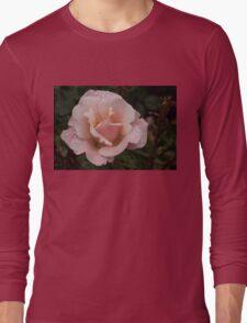 Rose and Rain - Soft Pink Raindrops Long Sleeve T-Shirt