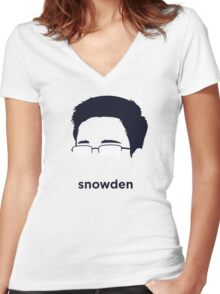 Edward Snowden (Hirsute History) Women's Fitted V-Neck T-Shirt