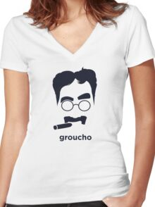 Groucho Marx (Hirsute History) Women's Fitted V-Neck T-Shirt
