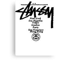 Stussy Logo, New York, Los Angeles, Lonndon,Paris, Hong Kong, Tokyo Canvas Print