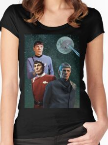 Three Spock Moon Women's Fitted Scoop T-Shirt