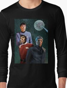 Three Spock Moon Long Sleeve T-Shirt