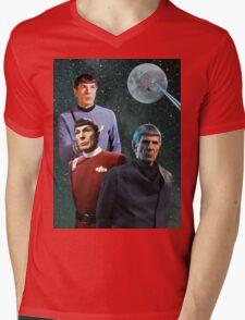 Three Spock Moon Mens V-Neck T-Shirt