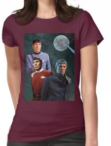Three Spock Moon Womens Fitted T-Shirt
