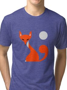 Fox and Moon Semicolon Version Tri-blend T-Shirt