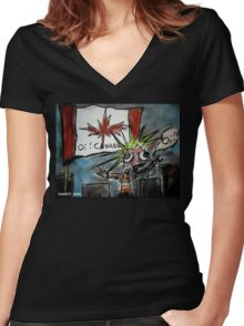 Oi Canada! Women's Fitted V-Neck T-Shirt