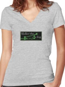Walkin' the dog...not. Women's Fitted V-Neck T-Shirt