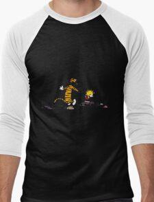 calvin and hobbes jump Men's Baseball ¾ T-Shirt