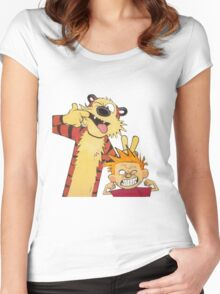 calvin and hobbes mocking Women's Fitted Scoop T-Shirt