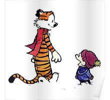 calvin and hobbes talk and walk Poster
