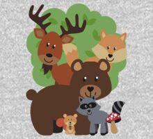 Woodland Animals Bear Fox Deer Raccoon Squirrel One Piece - Long Sleeve