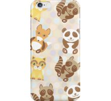 raccoon, panda, fox, cat on polka dot background iPhone Case/Skin
