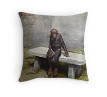 """""""Mary"""" on a bench with a pipe, ca 1940 Throw Pillow"""