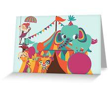 Big Top Circus Trapeze Elephants Clown Greeting Card