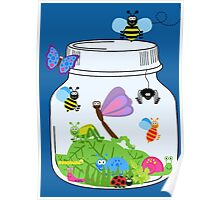 Cute Insects Bugs in Bug Jar Poster