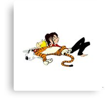 Calvin And Hobbes : Sleepy Time Canvas Print