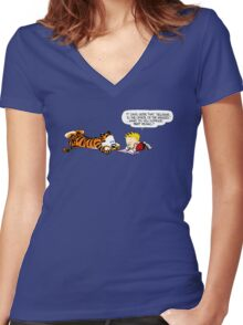 Calvin And Hobbes : Discussion Women's Fitted V-Neck T-Shirt