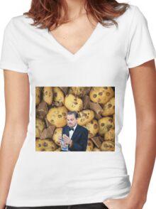 Leonardo DiCaprio Cookie Women's Fitted V-Neck T-Shirt
