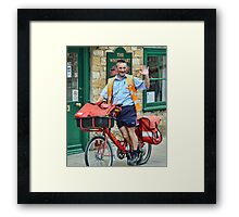 Cheeky, Happy Postie at work in Sherbourne Framed Print