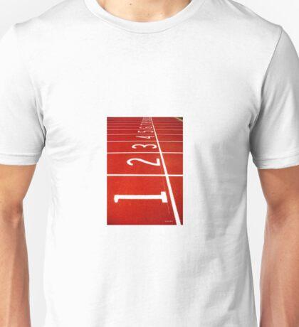 Sports running track starting line Unisex T-Shirt