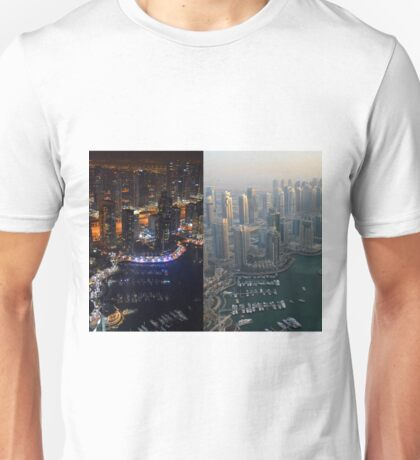 Photography of tall buildings, skyscrapers from Dubai, daytime and at night. United Arab Emirates. Unisex T-Shirt