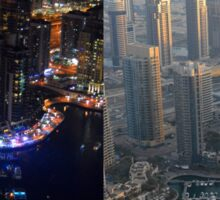 Photography of tall buildings, skyscrapers from Dubai, daytime and at night. United Arab Emirates. Sticker