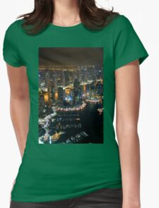 Photography of tall buildings, skyscrapers from Dubai at night. United Arab Emirates. T-Shirt