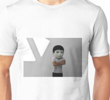Sad Japanese man. Puppet head. Unisex T-Shirt