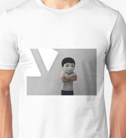 Sad Japanese man. Puppet head. Unisex T-Shirt