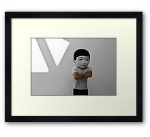 Sad Japanese man. Puppet head. Framed Print