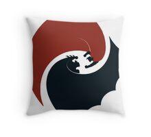 batman vs superman yin yang logo Throw Pillow
