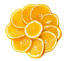 sliced oranges on a plate  Photographic Print