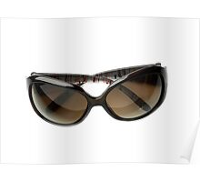 female brown sunglasses isolated  Poster