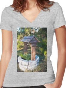 Decorative stone well in the park Women's Fitted V-Neck T-Shirt