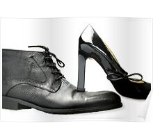 fashionable male and female shoes  Poster