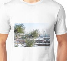 Branch of a pine on blurred background industrial landscape Unisex T-Shirt