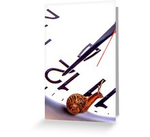 Snail sitting on clock face at 12 ocklock Greeting Card