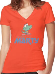 FM Towns Marty Logo Women's Fitted V-Neck T-Shirt